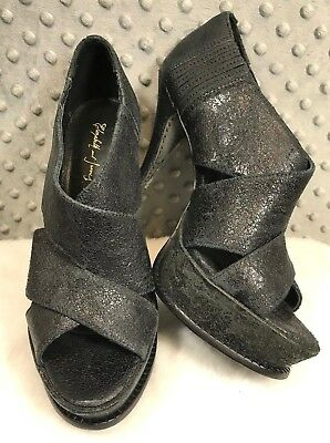 Elizabeth And James E-Milla Platform Heels Black Crisscross Womens 8.5B Leather