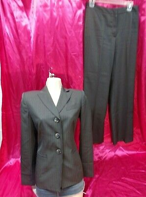 EVAN PICONE 2-PC Pant Suit ~ Size 6 Gray Stripe Lined Suit Work Career Women's