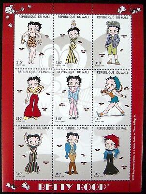 1999 MNH MALI  BETTY BOOP STAMPS SHEET BETTY IN DIFFERENT OUTFITS COMIC CARTOON
