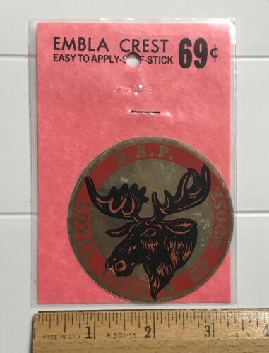 NIP Vintage Loyal Order of Moose PAP Emblem Crest Sticker Decal