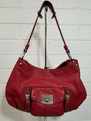 B. MAKOWSKY LARGE BURGUNDY LEATHER SATCHEL SHOULDER BAG HANDBAG PURSE