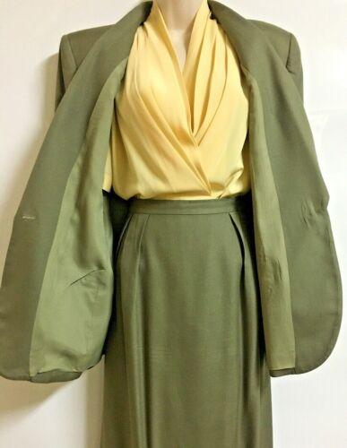 Saville Soft Green Straight Skirt Suit w/ Yellow Alexandria Pleated Blouse Sz 12