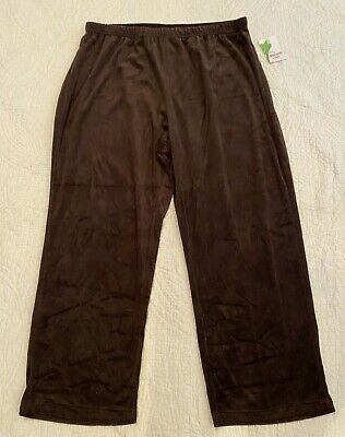 NWT Pappagallo Woman Saddle Brown Velour Elastic Waist Lounge Pants Womens 3X Flexible Womens Saddle
