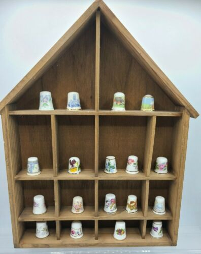VTG Wood Display Wall Holder with 18 TCC England & Wales thimbles - porcelain