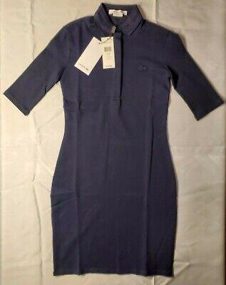 Lacoste Women's Stretch Half Sleeve Cotton Pique Polo Dress Navy 32/0 36/4 NWT