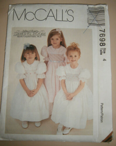McCalls 7698 smocking girls size 4 dress pattern - never used