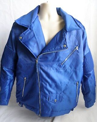 REBEL MINDS Mens Jacket NWT 2XL Blue Motorcycle Style Front Zip Zipper Pockets