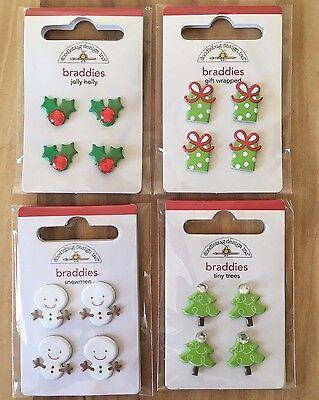 Doodlebug Christmas Winter Brads-Holly Berries-Snowman-Present-Tree w/Bling Gem ()
