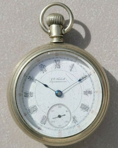 SK8: VINTAGE 1890 ILLINOIS BUNN POCKET WATCH 18S FANCY DIAL PRIVATE LABEL M3 / 6
