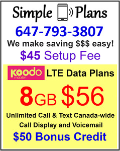 Koodo LTE Plan 1/6/8GB LTE Data unlimited Canada wide talk text