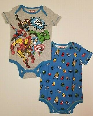 Avengers Baby Boys 2-Pack Bodysuits Infant One Piece NB, 0-3, 3-6,12 Months - Baby Avengers