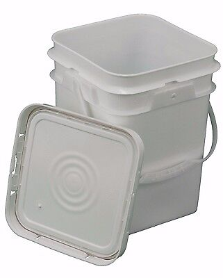 4 Gallon Square Bucket with Snap-on gasketed Lid (Food Grade)