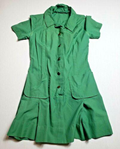 Vintage Girl Scouts Leader Dress - Size 10 - Model 2-205 Green Pockets