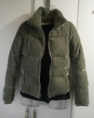 Womens A&F Abercrombie & Fitch Jacket Khaki Velvet Look Puffer Size S see sizing