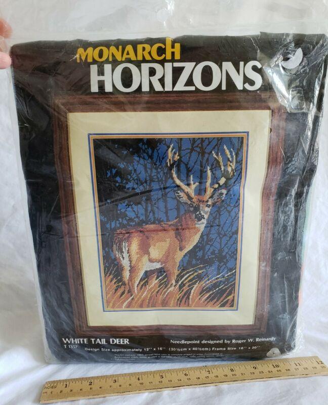 1984 Monarch Horizons ~ White Tail Deer Buck Needlepoint Kit ~ NIP