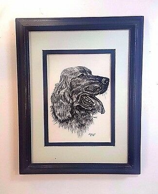FRAMED & MATTED ORIGINAL SCRATCH BOARD ART OF AN IRISH SETTER. SIGNED