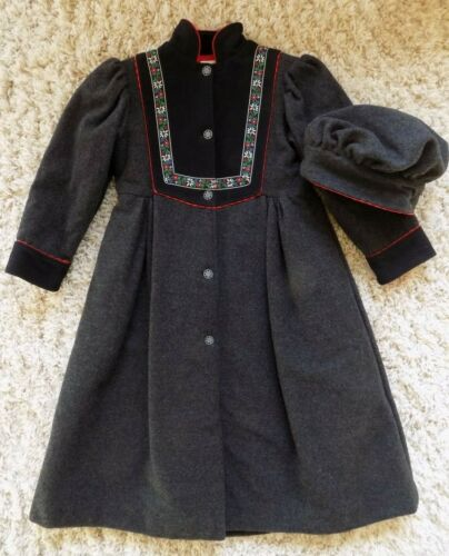 Nanook Vtg Dark Gray Red Holiday Wool Coat Hat Girls 8