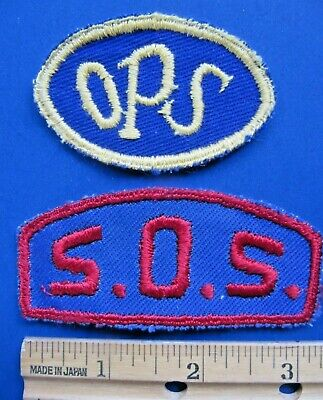 2 Lot - OPS and S.O.S. Cloth Embroidered Patch -Vintage NOS