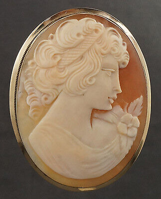 """Large Vintage 14K Yellow Gold Carved Conch Shell Cameo, 2"""" Pin, Brooch, Pendant"""