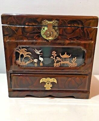 Chinese Wooden Jewelry Box - Vintage Wooden Lacquer Chinese Jewelry Box Music Box