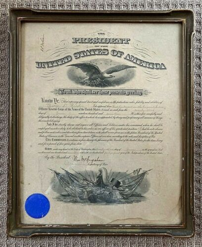 ORIGINAL- WW1 U.S. PRESIDENTIAL APPOINTMENT 1st LIEUTENANT - JUNE 23,1917 FRAMED