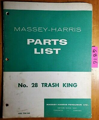 Massey Harris 28 Trash King Cultivator Parts List Manual 650 750 M3 1255