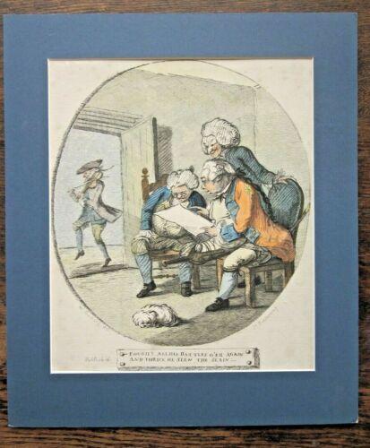 1782 Bunbury Bretherton Caricature Print Violin Dryden Handel Alexanders Feast