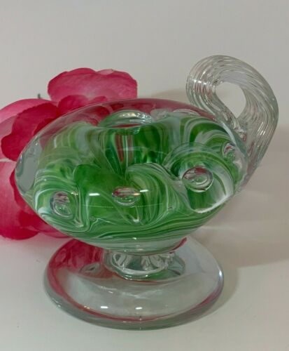 2003 Gibson Glass Green Swirl Clear Bubble Paperweight Candlestick Holder