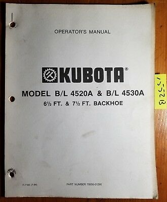 Kubota Bl 4520a 6 12 Ft Bl 4530a 7 Ft Backhoe Owners Operators Manual
