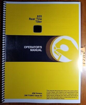 John Deere 820 Rear Tine Tiller Owners Operators Manual Om-ty20617 E3 583