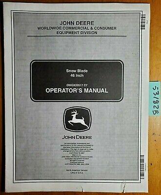 John Deere 46 Snow Blade Owners Operators Manual Omgx20517 C7 307