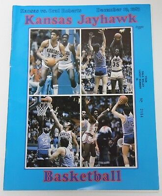 Vtg 1983 ORU VS. KANSAS JAYHAWKS BASKETBALL KU PROGRAM LARRY BROWN JOHN CALIPARI