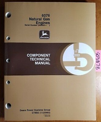 John Deere 6076 Natural Gas Engine Sn 500000- Component Technical Manual Ctm82