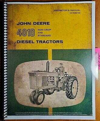 John Deere 4010 Row-crop Standard Diesel Tractor Owner Operators Manual 860