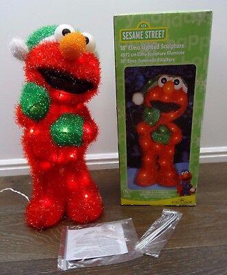 Sesame Street Lighted Elmo Soft Tinsel Christmas Decoration Indoor Outdoor 18