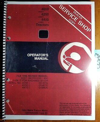 John Deere 4050 Sn 5511- 4250 Sn 9673- 4450 Sn 19805- Tractor Operator Manual