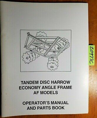 Howse Tandem Disc Harrow Economy Angle Frame Af Owner Operators Parts Manual
