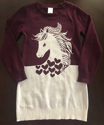 NWT Gymboree Girl Plum Pony Horse Graphic Sweater Dress Size 4 6 7 ](Plum Girl Dresses)