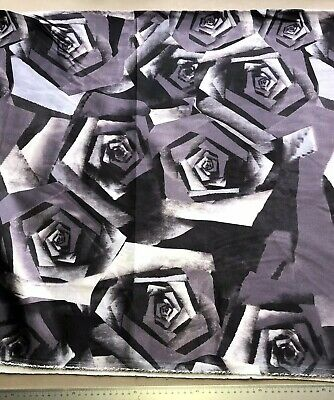Medium Grey Satin (Geometric Grey Abstract Rose Satin Fabric Medium Weight )