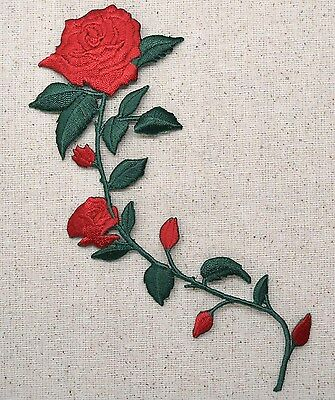 Iron On Embroidered Applique Patch Large Red Roses on Vine Stem 695735AL