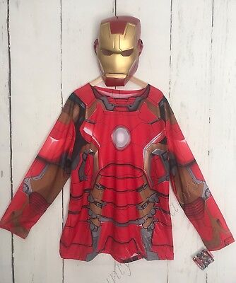 New Iron Man Costume Shirt & Mask Adult Men's XL Marvel Avengers Age Of Ultron