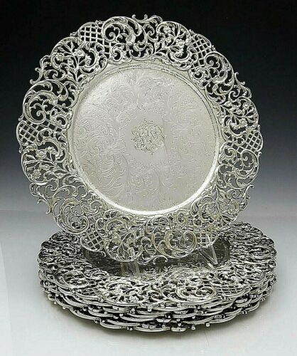 """Set of 8 CALDWELL Sterling 12"""" PLATES Chargers 202 oz"""