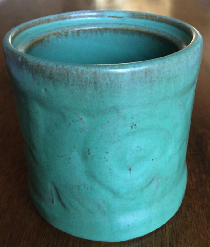 Antique Vintage Catalina Island Pottery Cigarette Humidor Jar - Descanso Green