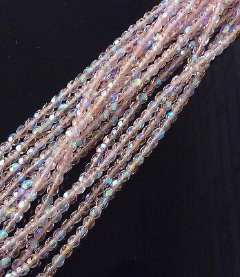 4mm Czech fire Polished 50 Beads Little Princess AB Czech Round Faceted Beads