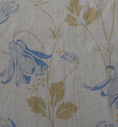 Antique French Art Nouveau Deco Columbine Floral Cotton Fabric #2~ softened blue