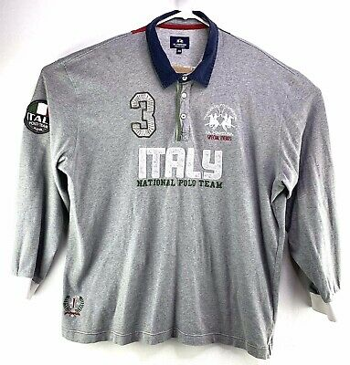 710 Rugby (La Martina Mens Size 4XL Italy Polo Team #3 Embroidered Jersey Polo Rugby)