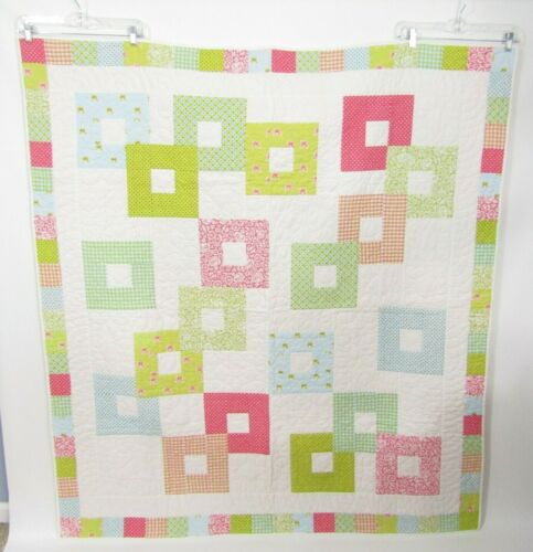 Handmade Baby Girl Quilt Patchwork Farmhouse Quilted Floral Modern Square 62x56