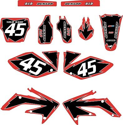 2004-2005 HONDA CRF250 Full Graphics Kit Red with Black Shock Series 2004 Series Graphic Kit
