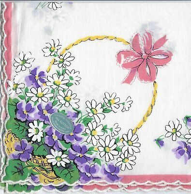 Vintage-Inspired Hanky - Basket of Violets and Daisies Hanky