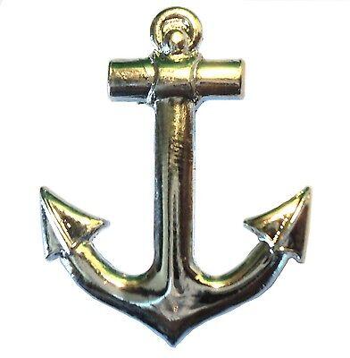 Chrome Sailing Ship Yacht or Boat 25mm Anchor Metal Badge Lapel Pin Navy Seaside